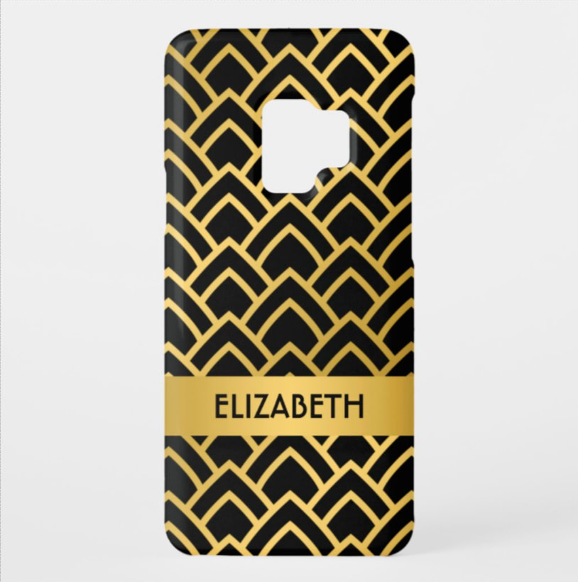Gold Art Deco print in LOTS OF COLORS on matte or glossy finish. Shop PhoneCaseFashions.com