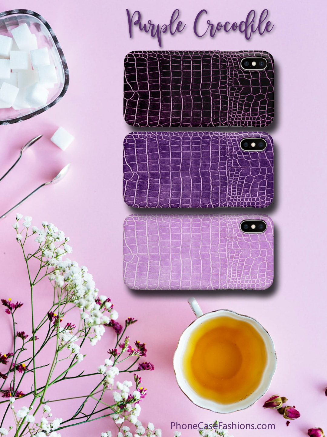 If purple, lavender or eggplant is your thing and you're wild about animal prints, these faux crocodile cell phone cases are the perfect addition to your accessories wardrobe. Don't hide behind an ugly case! Shop PhoneCaseFashions.com