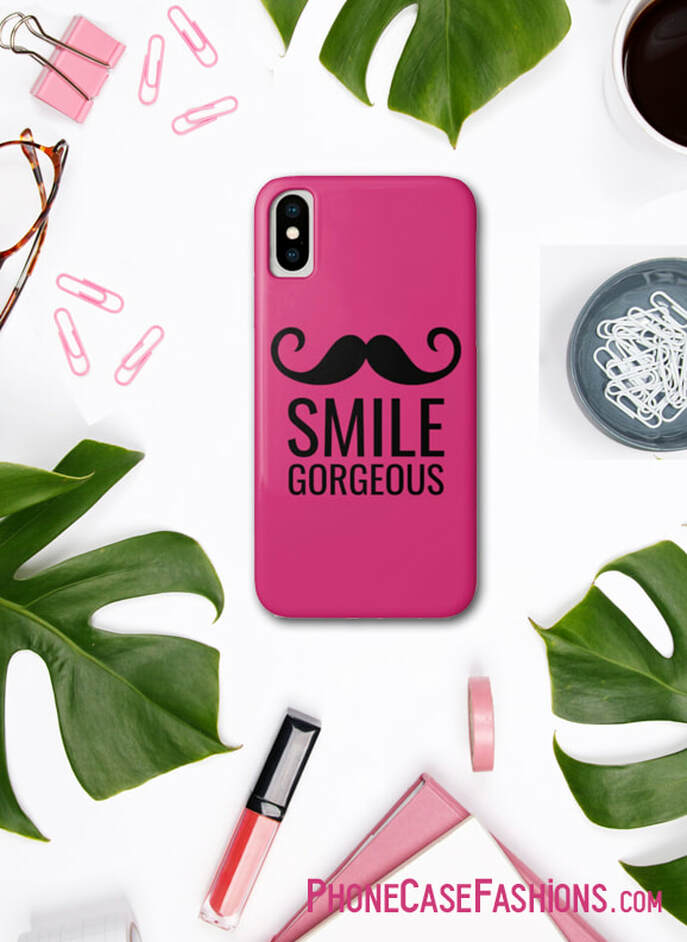 Love to make people smile, always taking photos of friends, places and things? This SMILE + Mustache case is for you. Choose case color - hot pink, turquoise, any color. Don't hide behind an ugly case! Shop PhoneCaseFashions.com