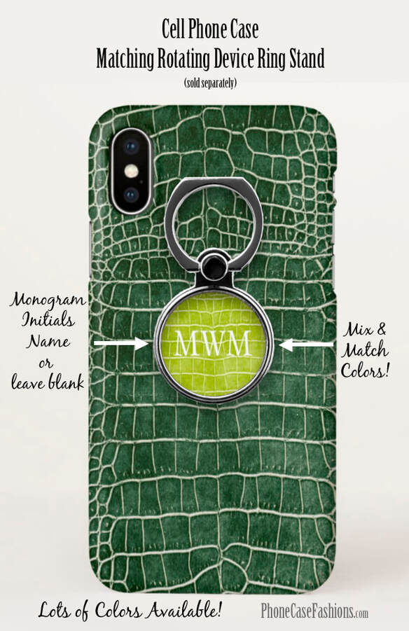 Green crocodile faux leather cell phone case and matching rotating device ring stand. Shop PhoneCaseFashions.com