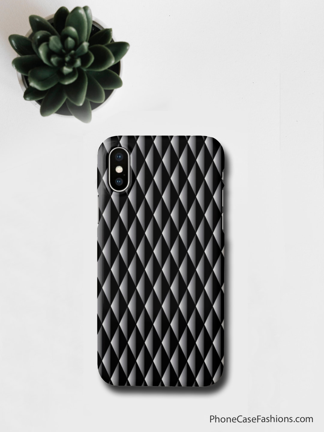 3-D look gray-to-black diamond pattern. Add your initials, monogram, name or leave the cool pattern to grab compliements. Don't hide behind an ugly phone case, design one as unique as you are. (Great Father's Day, birthday or Christmas gift!) Shop PhoneCaseFashions.com