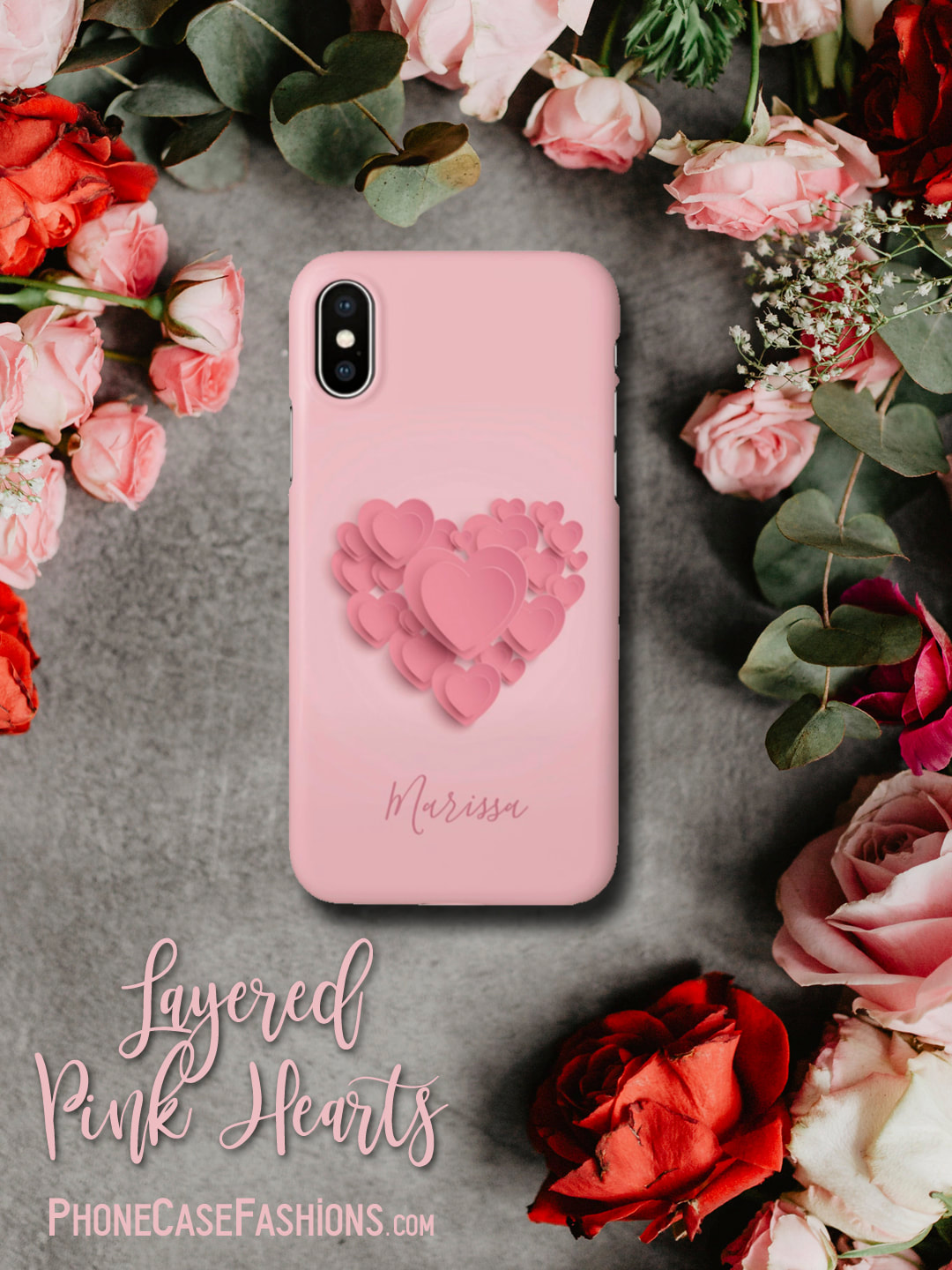 Layered bubble gum pink hearts on a baby pink background, a perfect cell phone case for the one you love, for Valentine's Day, Mother's Day, the new bride-to-be, or just because.