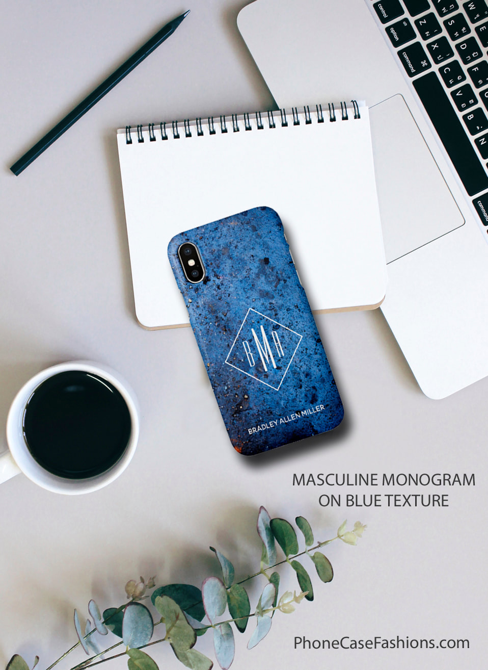 Men now have more choices than a black cell phone case. Our Blue Texture design is cool as is or add our initials, monogram and or your name. Don't hide behind an ugly phone case, design one you'll love.  Shop PhoneCaseFashions.com to design a case you'll love.