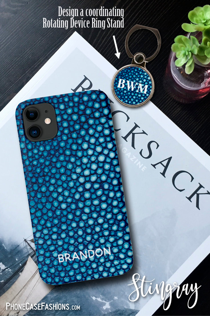 Show your love of the sea and all the creatures therein with this faux Stingray print cell phone case. Available in natural, green, blue, turquoise, orange, purple, peach and hot pink. Don't hide behind an ugly phone case! Shop PhoneCaseFashions.com