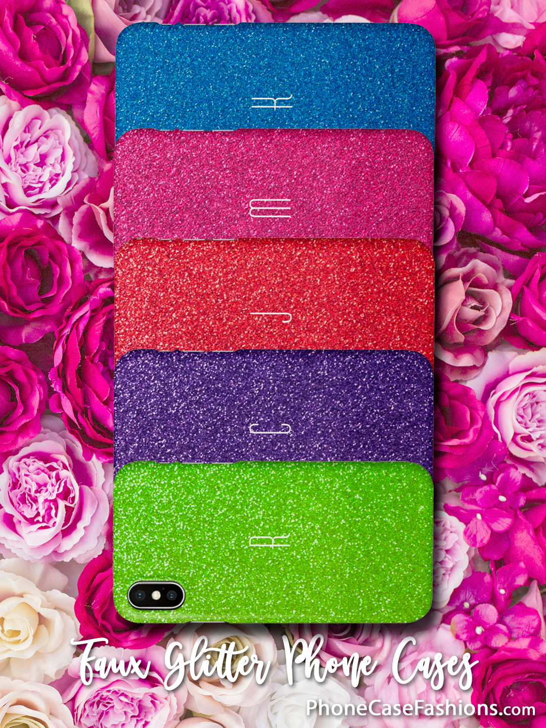 Love sparkle? Faux glitter phone cases in lots of colors, personalize with your initial, monogram, name or leave plain. Collect them all to match your favorite clothes, fingernail polish or your mood. Shop PhoneCaseFashions.com