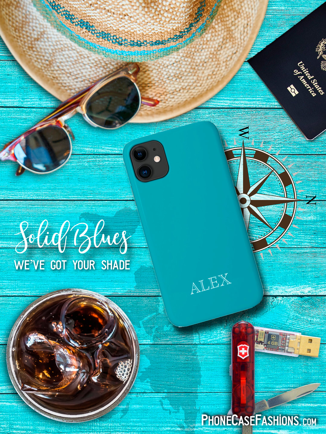 We've got your shade of blue...16 to choose from. Customize with your name, monogram or initial, add a photo, a saying or just leave your case your favorite hue of blue. Don't hide behind an ugly phone case! Shop PhoneCaseFashions.com