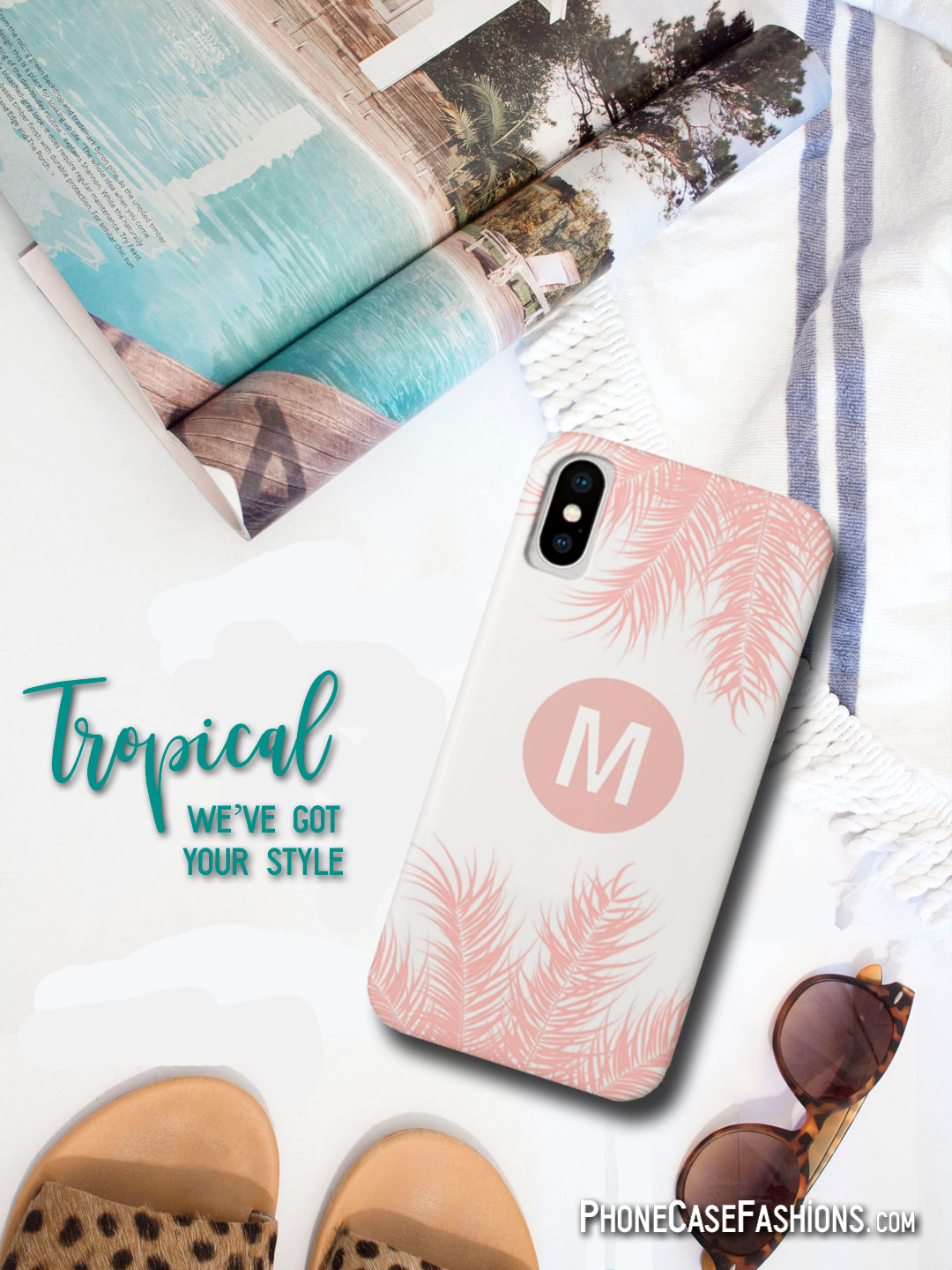 Get ready for summer vacation or just show your love of all things tropical with fabulous prints of palm trees, sunsets, flowers and animal prints. Customize with an initial, name, monogram, a saying. Don't hide behind an ugly case, we've got you covered. Shop PhoneCaseFashions.com